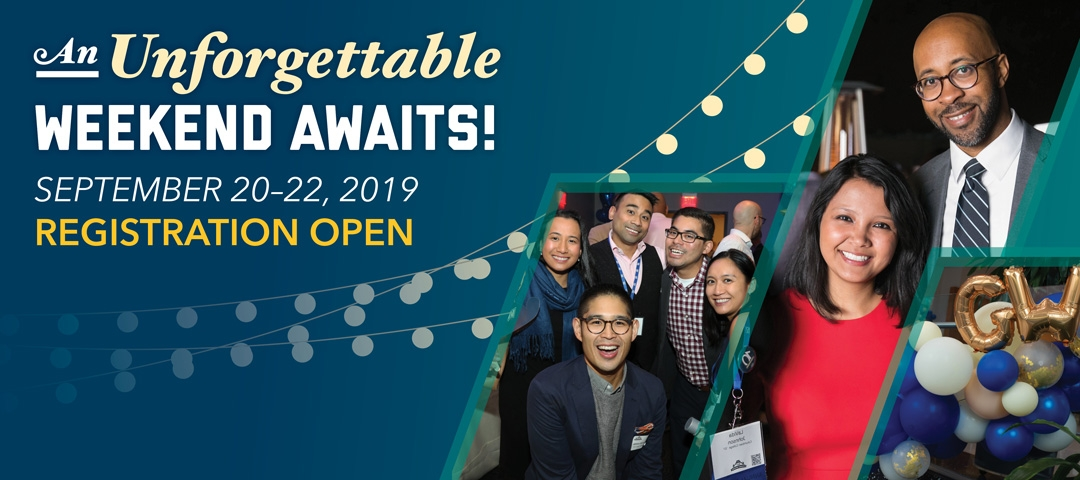An Unforgettable Weekend Awaits! September 20-22, 2019. Registration Open! Groups of people gather to celebrate.
