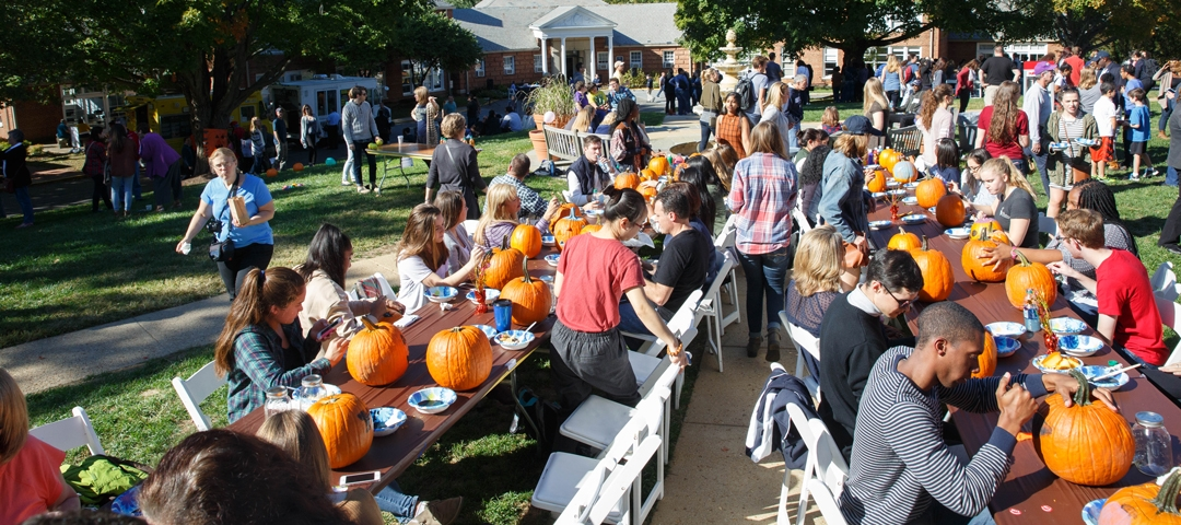 Students carve pumpkins at Colonials Weekend